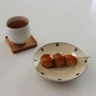 小鹿田焼 5寸皿 青ドット