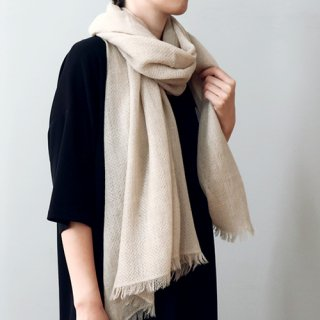 Natural Basic ワッフル&綾織 切り替えストール カシミヤ 80×190