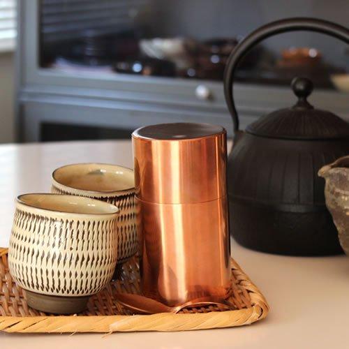 銅製 茶筒 長型 120g