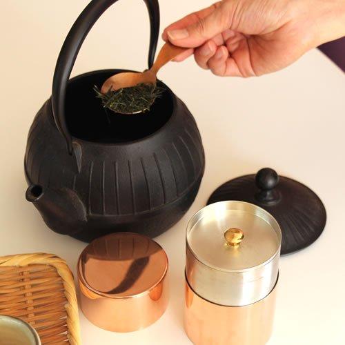 銅製 茶筒 長型 80g 野点