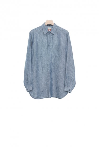 FRANK LEDER<br>STRIPED BLUE LINEN PULLOVER SHIRT