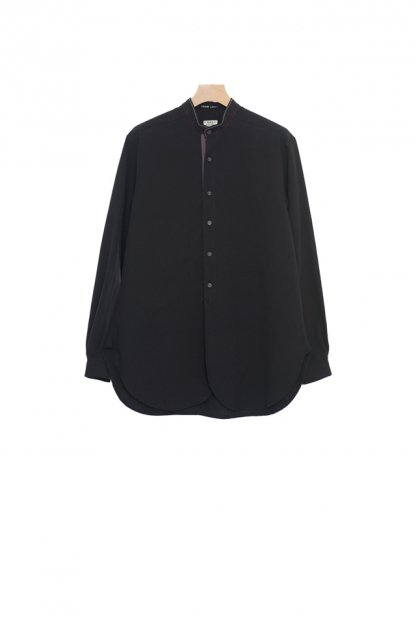 FRANK LEDER<br>BLACK COTTON OLD STYLE SHIRT+STITCH DETAL