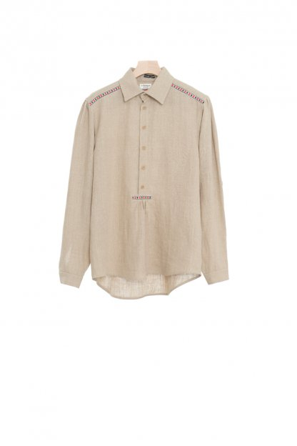 FRANK LEDER<br>LIGHT BROWN LINEN PULLOVER SHIRT