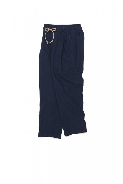 FRANK LEDER<br>INDIGO PIECE DYED COTTON DRAWSTRING PANTS