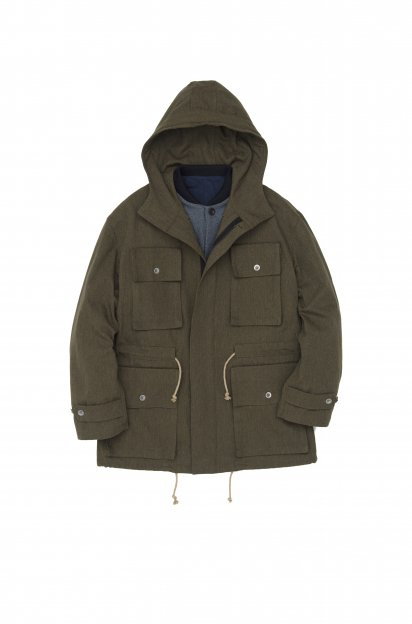 FRANK LEDER<br>KHAKI ROUGH COTTON WOOL 2WAY COAT