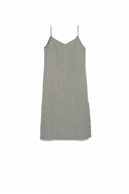 AURALEE<br>WOOL SILK HERRINGBONE SLIP DRESS