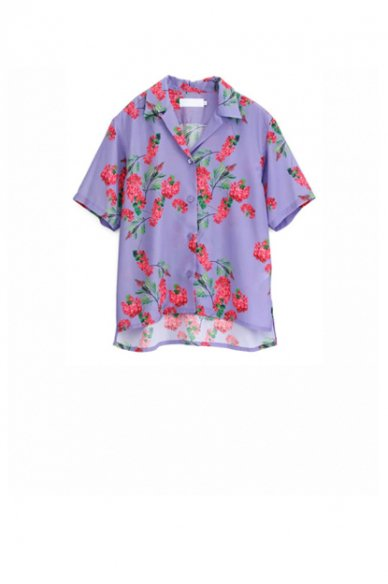 Garphpaper<br>Flower Printed Open Collar Shirt (The floral print designed by *ENAMEL)
