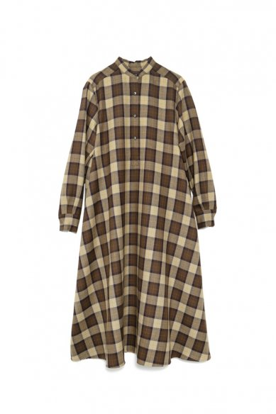 Graphpaper<br>Wool Check Band Collar Dress