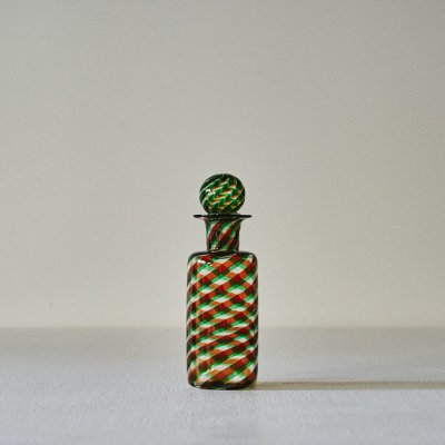 Glass Bottle Stripe Green