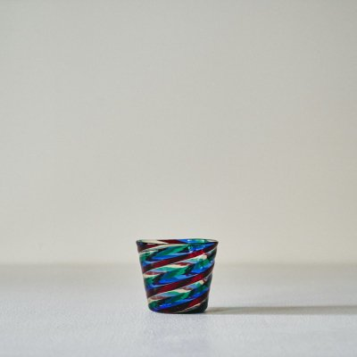 BIANCONI for VENINI<br>Glass Cup 'Fasce Ritorte' Multicolor Swirl