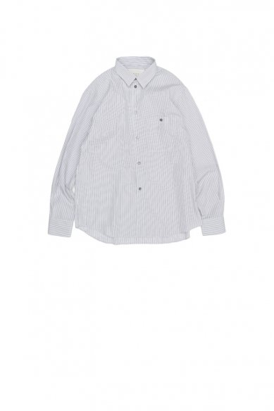 STUDIO NICHOLSON<br>PIUMINO TRIPLE STRIPE OVERSIZED POINT COLLAR SHIRT