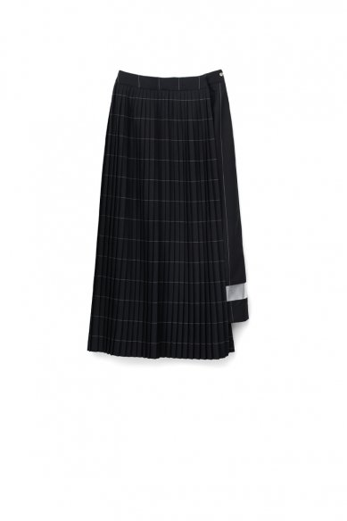Graphpaper<br>Wide Stripe Wool Pleated Skirt