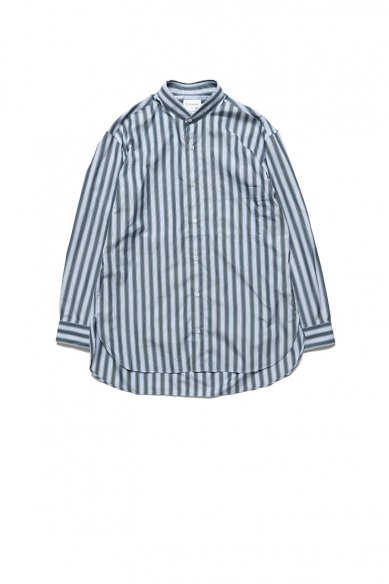 Cristaseya<br>Limited Collection<br>HANDMADE POPELINE MAO SHIRT WITH FRINGED COLLAR STRIPED GREEN