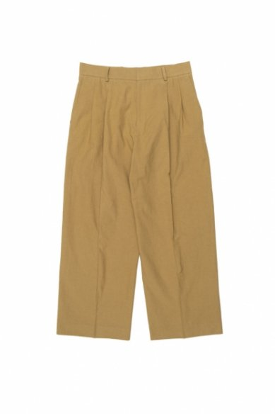 Cristaseya<br>JAPANESE COTTON &LINEN DOUBLE PLEATED TROUSERS