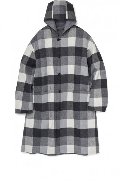 Graphpaper<br>Double Faced Wool Reversible Hooded Coat