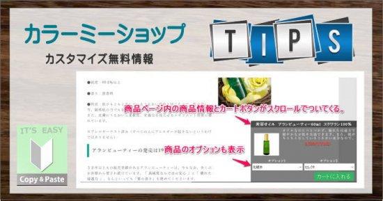 第2弾!画面をスクロールしても自動で付いてくるカートボタン(オプション商品対応版)-商品詳細-