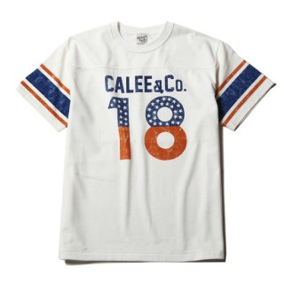 CALEE キャリー Foot ball S/S T-shirt<White><img class='new_mark_img2' src='https://img.shop-pro.jp/img/new/icons14.gif' style='border:none;display:inline;margin:0px;padding:0px;width:auto;' />