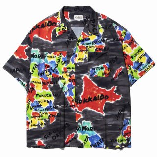 CALEE キャリー Japan map pattern S/S shirt<Black><img class='new_mark_img2' src='//img.shop-pro.jp/img/new/icons14.gif' style='border:none;display:inline;margin:0px;padding:0px;width:auto;' />