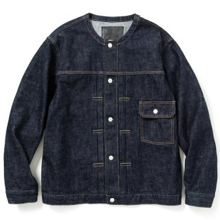 CALEE キャリー 1st type no collar denim jacket<Ow Indigo blue><img class='new_mark_img2' src='https://img.shop-pro.jp/img/new/icons14.gif' style='border:none;display:inline;margin:0px;padding:0px;width:auto;' />