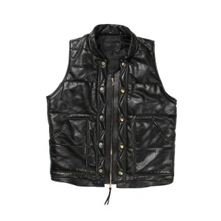 CUTRATE カットレイト UPCYCLE LEATHER PADDING VEST<BLACK>