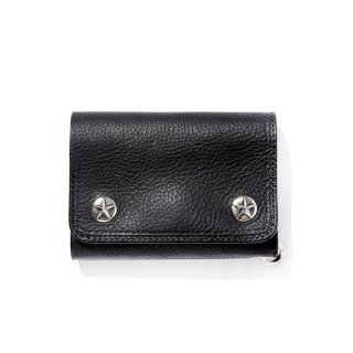 CALEE キャリー Silver star concho flap leather half wallet<Black><img class='new_mark_img2' src='https://img.shop-pro.jp/img/new/icons14.gif' style='border:none;display:inline;margin:0px;padding:0px;width:auto;' />