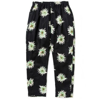 CALEE キャリー Allover flower pattern linen tapered pants<Black>