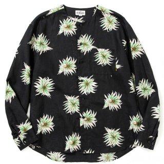CALEE キャリー Allover flower pattern linen no collar L/S shirt<Black>
