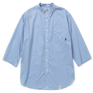 CALEE キャリー Band collar 3/4 sleeve twill shirt<Blue><img class='new_mark_img2' src='https://img.shop-pro.jp/img/new/icons14.gif' style='border:none;display:inline;margin:0px;padding:0px;width:auto;' />