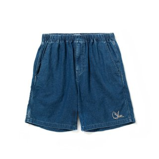 CALEE キャリー Used denim painter short pants<Indigo blue>