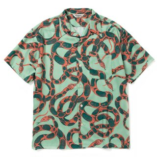 CALEE キャリー Allover snake pattern S/S shirt<Green>