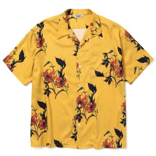 CALEE キャリー Allover flower pattern S/S shirt<Yellow>