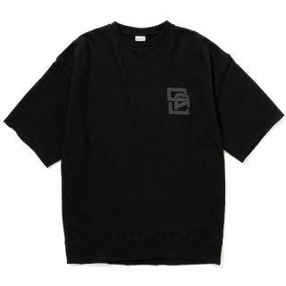 CALEE キャリー Drop shoulder logo print S/S sweat<Black>