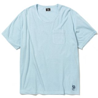 CALEE キャリー Vintage reproduct knitted fabric u neck t-shirt<Blue><img class='new_mark_img2' src='https://img.shop-pro.jp/img/new/icons14.gif' style='border:none;display:inline;margin:0px;padding:0px;width:auto;' />