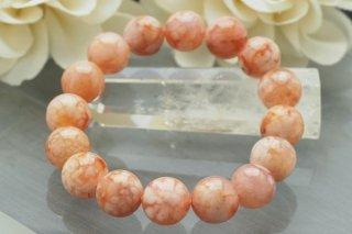 【マダガスカル産】12mm チェリーブロッサムアゲート(サクラメノウ) ブレスレット 桜の花びら模様 写真現物をお届けします!
