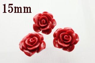 5粒セット売り【15mm】薔薇(バラ)レッドコーラル(練り)珊瑚 ビーズ(穴あき)