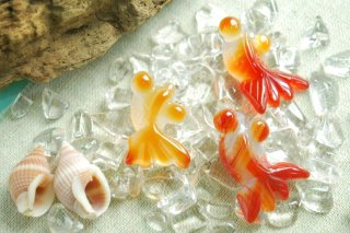【穴あき】金魚 アゲート(瑪瑙) 1粒売り バラ売り ビーズ お守り石