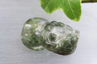 【20mm×13mm】貔貅(ヒキュウ)ガーデンクォーツ 彫刻 ビーズ(穴あき)