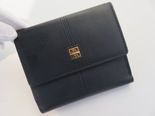 デッドストック‼ GIVENCHY ヴィンテージ 二つ折り財布 ネイビー 本革