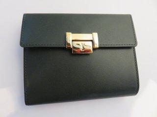 デッドストック‼ ダークグリーン YSLゴールド金具二つ折り財布