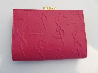 イヴサンローラン YSLロゴ 二つ折り財布 ピンク