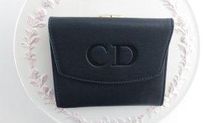 Christian Dior ディオール がま口二つ折り財布 濃紺×赤