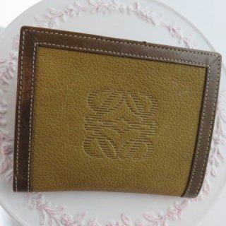 LOEWE ロエベ 二つ折り 財布 アナグラム ブラウン×ベージュレザー