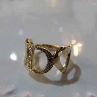 Dior ラインストーン ロゴハートリング 指輪