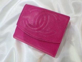 CHANEL ココマーク ピンク キャビアスキン 2つ折り 財布 ヴィンテージ シャネル
