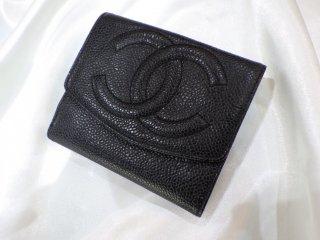 CHANEL ココマーク ブラック キャビアスキン 2つ折り 財布 ヴィンテージ シャネル