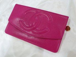 CHANEL BIGココマーク ピンク キャビアスキン 2つ折り 長財布