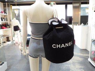 CHANEL ロゴ プリント 巾着 ショルダーバック ヴィンテージ シャネル