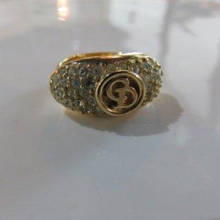 クリスチャンディオール ラインストーン  ロゴ リング 指輪