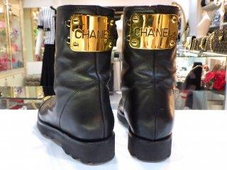 希少 CHANEL ゴールドプレート ココマーク ブーツ サイズ36ハーフ ヴィンテージ シャネル