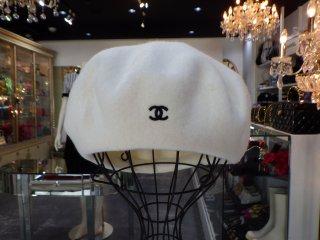 CHANEL ヴィンテージシャネル ココマーク刺繍 ウール ベレー帽